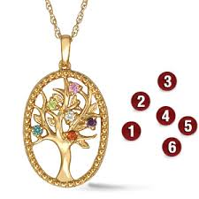 mothers pendant family tree s pendant with 6 genuine birthstones in 14kt