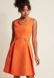 orange dress so sixties a line dress in clementine modcloth