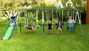 Backyard Swing Sets Canada Natus Inc Rosemead Metal Slide And Swing Set U0026 Reviews Wayfair