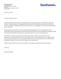 letter of recommendation southwest