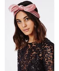 velvet headband missguided velvet bow detail headband pink in pink lyst