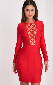 dakota red premium lattice bandage bodycon dress dresses