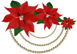 decorative christmas poinsettias with pearls png clipart image
