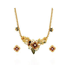 colour gold necklace images Necklace beautiful colour flowers gold necklace grt gold flower jpg