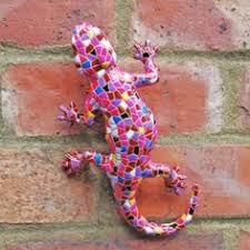 harlequin mosaic resin lizard garden ornament mosaics