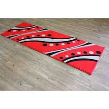 Red Runner Rug Lines And Circles Pattern Red Black Grey Hand Carved Runner Area