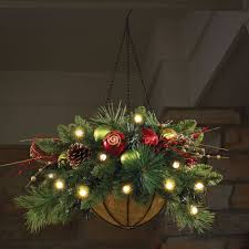 cordless pre lit christmas hanging basket 24