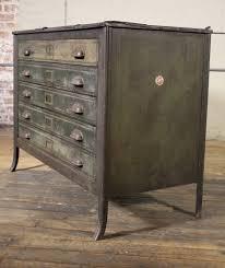 metal lateral file storage cabinet vintage industrial table worn