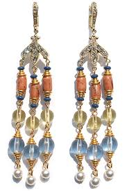 drop bead tassel earring with multi colored bead drop steve sasco design