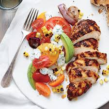 roasted chicken for thanksgiving grilled chicken with tomato avocado salad recipe myrecipes