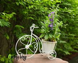 bicycle tricycle wire iron flower cactus planter stand green