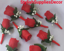 Groomsmen Boutonnieres Red Boutonniere