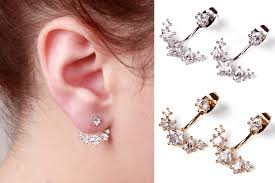 earring jacket gold silver ear jackets earrings ear jacket sided