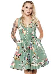 wax poetic clothing zombie pinup dress green sourpuss clothing