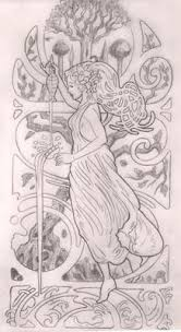 art nouveau bird with needle and thread right shoulder tattoo