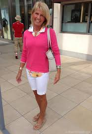 preppy for women over 50 how to style slim fitting shorts white with polished brights 50th