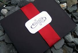 pocketfold wedding invitation black red ivory white