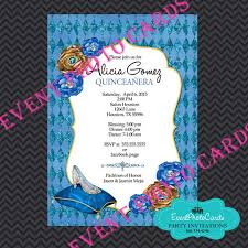 quinceanera party invitations glass slipper sweet 15 invitations princess blue quinceanera