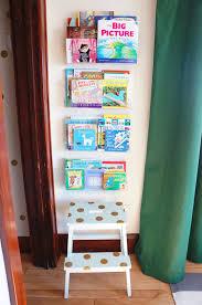clear bookshelves green nursery ikea step stool hack nursery