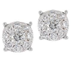 cluster stud earrings diamond cluster stud earrings 14k 3 4 cttw by affinity