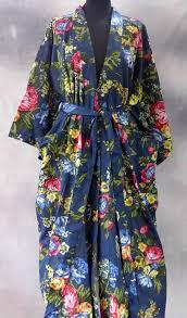 kimono robe de chambre kimono robe de chambre bleu marine à fleurs en coton imprimé