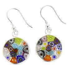 dangler earings murano earrings millefiori murano dangle earrings silver