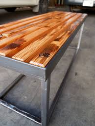 forward thinking furniture metal meets wood bench
