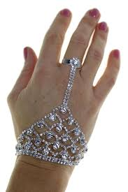 ring bracelet chain silver images Indian diamante hand ring bracelet silver jpg