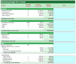 marketing budget plan format budget templates
