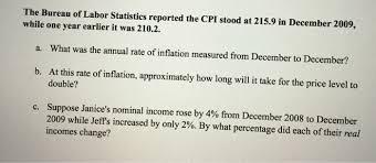 us bureau of labor statistics cpi solved the bureau of labor statistics reported the cpi st