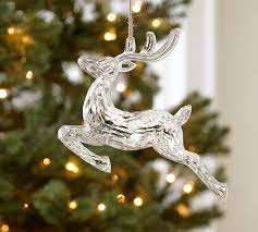 acrylic mirrored reindeer ornament pottery barn