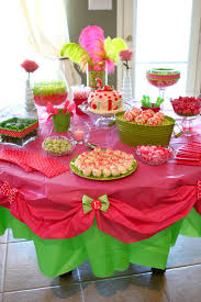 Candy Buffet For Parties by Personalized Table Cloth Pink And Green Birthday Party And Candy