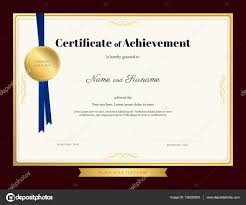 elegant certificate of achievement template with blue ribbon and