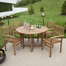 teak outdoor round dining table set with stacking chairs outdoor