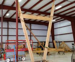 hand build architectural wood framework model house timber frame fabrication
