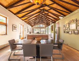 Vaulted Ceiling Open Floor Plans Dining Rooms Vaulted Ceilings Bowl Dining Chairs Framed Wall Art