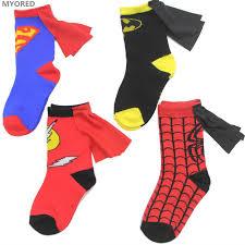 myored 3 to 6years kids socks cartoon superman batman flash cloak