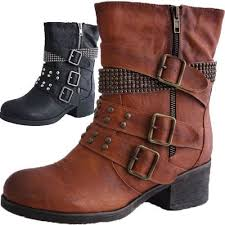 womens boots mid calf brown black s boots with buckles shoe models 2017 photo