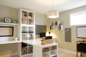 T Shaped Desk Hanging And Desk Lighting In The Home Office With Rattan Baskets