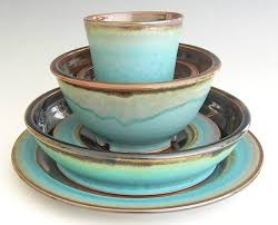 Pottery Barn Dishes Ceramic Dinnerware Set Made To Order Turquoise Brown Black