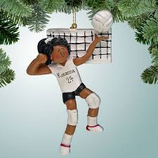 sports christmas ornaments volleyball server dark skin