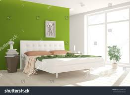 green bedroom scandinavian interior design 3d stock illustration