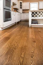 Wide Hardwood Flooring Wide Plank White Oak Finished With Medium Brown Stain And High