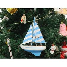 wooden anchors aweigh model sailboat tree ornament