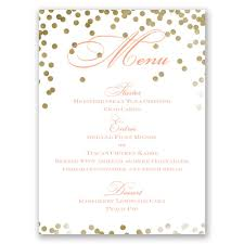 wedding menu cards gold polka dots menu card invitations by