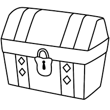 a simple drawing of locked treasure chest coloring page applique