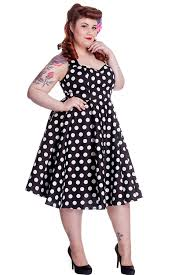 hell bunny plus size 60 u0027s black and white polka dot halter flare