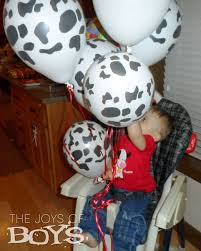 cow print balloons farm themed birthday party baby s birthday bash