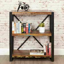 Low Narrow Bookcase by Urban Chic Reclaimed Wood Furniture Low Small Open Living Room