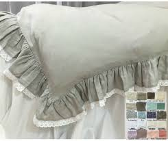 linen ruffle duvet cover with lace hem u2013 white gray blue pink